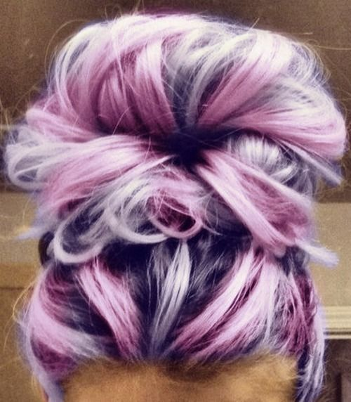 Lavender, Violet Messy Hair Bun.   Perfect messy bun hairstyle inspiration and easy tutorials for short hair, long hair and medium hair DIY updo. pinned by www.livewildbefree.com