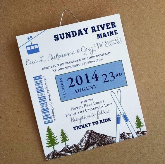 Ski Pass Mountain Wedding Skis And Trees Gondola Wedding Invitation