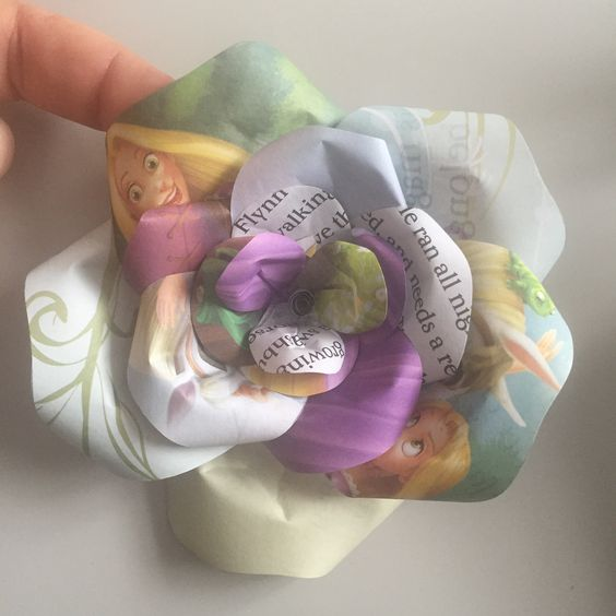 Upcycled handmade Disney Princess paper rose by Karolina Rose #DisneyFan #Tangled #Rapunzel