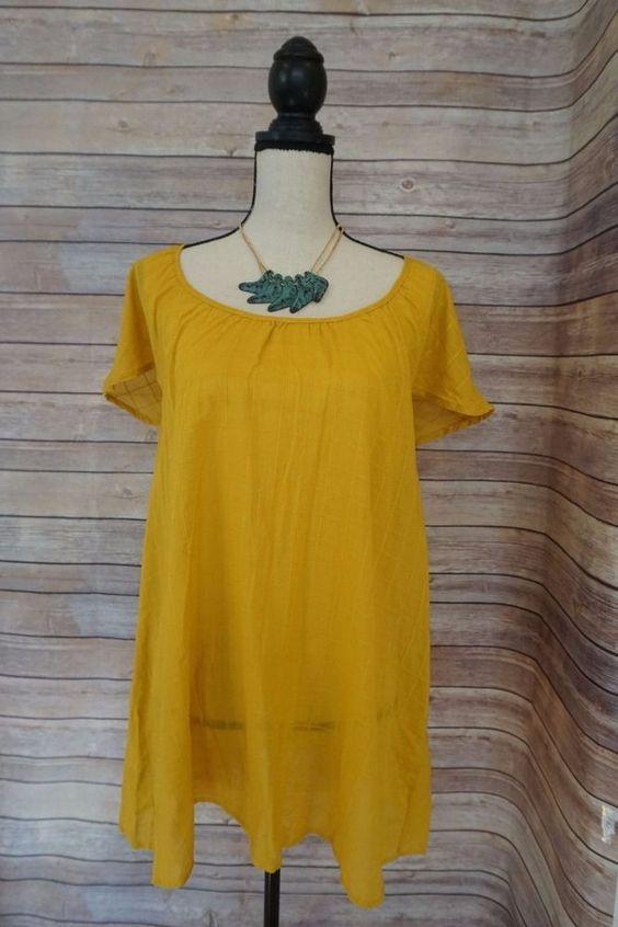 Women's Anthropologie Eloise Oversized Waffle Shirt Dress Golden Yellow S-M #Anthropologie #Tunic #CasualSummerBeach