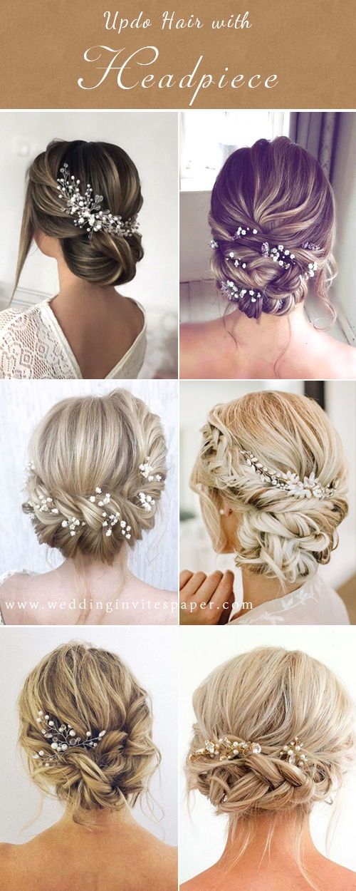 42 Gorgeous Wedding Hairstyles Elegant Updo Hairstyle With Chic Headpieces For C Long Hair Wedding Styles Wedding Hair Clips Wedding Hairstyles For Long Hair
