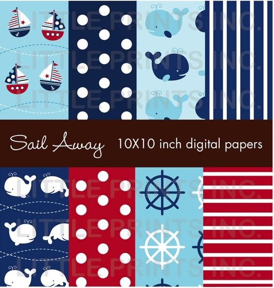 Sail Away Nautical Whale Sailboat Digital by LittlePrintsParties, $5.00