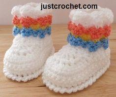 Livre bebê booties padrão de crochet baby EUA