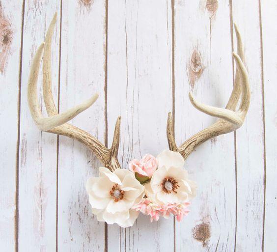 Magnolia - Decorative Floral Deer Antlers - Large Deer Antlers with Silk Magnolias and Pink Roses