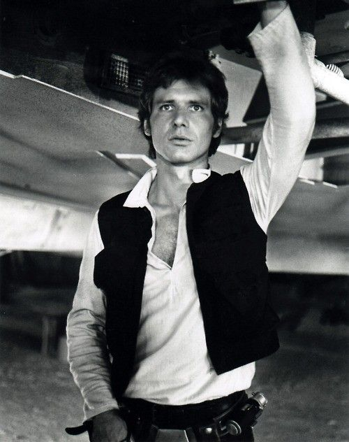 """Harrison Ford as """"Han Solo"""" on the set of """"Star Wars Episode IV: A New Hope"""", 1977"""