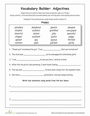 Worksheets 4th Grade Grammar Worksheet 4th grade spelling test technology vocabulary young writers can learn to use better adjectives with this building worksheet he