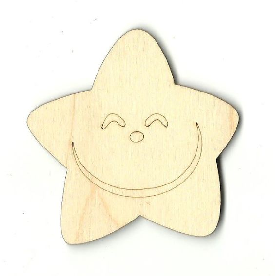 Happy Face Star Unfinished Laser Cut Wood Shape SKY9