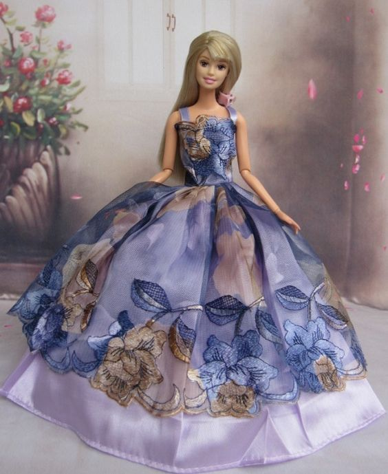 Barbie * šaty z modrého malovaného hedvábí s bílou spodničkou.: