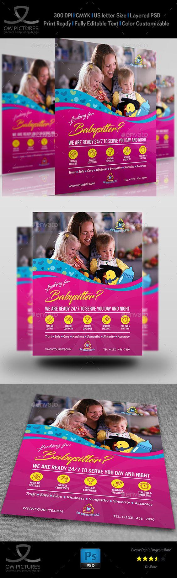babysitter flyer template babysitter modello di volantino e babysitter flyer design template flyers template psd here
