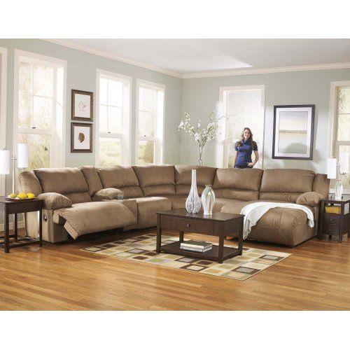 Hogan Mocha 6 Piece Sectional Oak Furniture Living Room Small