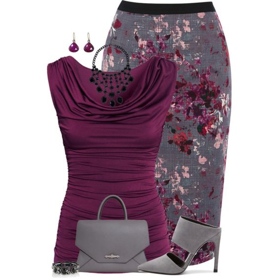 """Floral Pencil Skirt"" by maggiesuedesigns on Polyvore:"