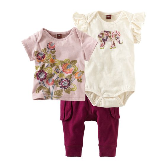 Baby Elephant 3-piece set for baby girl- must have when traveling. #teacollection