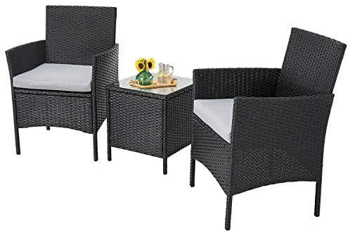 Amazon Com Incbruce Patio Bistro Set 3 Piece Outdoor Wicker Furniture Sets Mo Wicker Outdoor Furniture Set Outdoor Wicker Furniture Sectional Patio Furniture