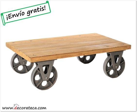 Mesa de centro industrial con ruedas natural loft for Ruedas industriales antiguas para muebles