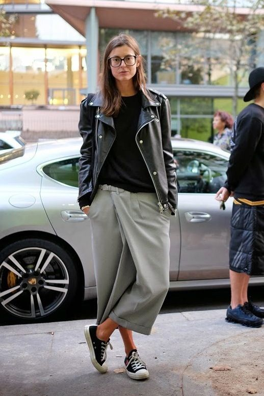 Le-Fashion-Blog-Paris-Street-Style-Casual-Square-Black-Frames-Leather-Moto-Jacket-Grey-Culottes-Comme-Des-Garcon-Converse-Sneakers.jpg 518×777 pixels: