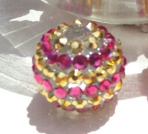20mm Pink and Gold striped Chunky Rhinestone by SofiasCottage, $2.80