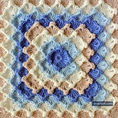 Crochê Quadrado Motivo -   /   Crochet Square Motif.