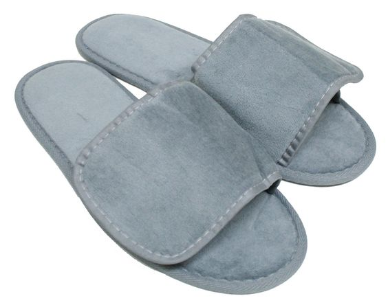 Terry Velcro Slippers - Cool Grey