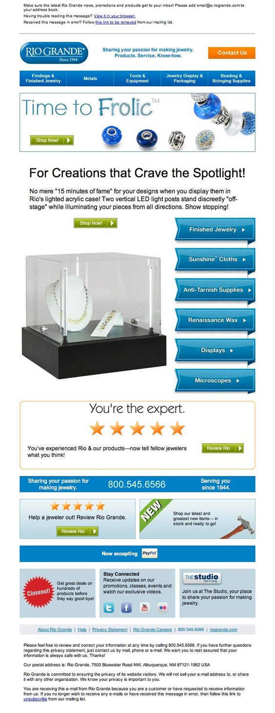 August emailer for lighted jewelry display case http://media1.riogrande.com/marketing/email/2012/08-aug/litcase.html
