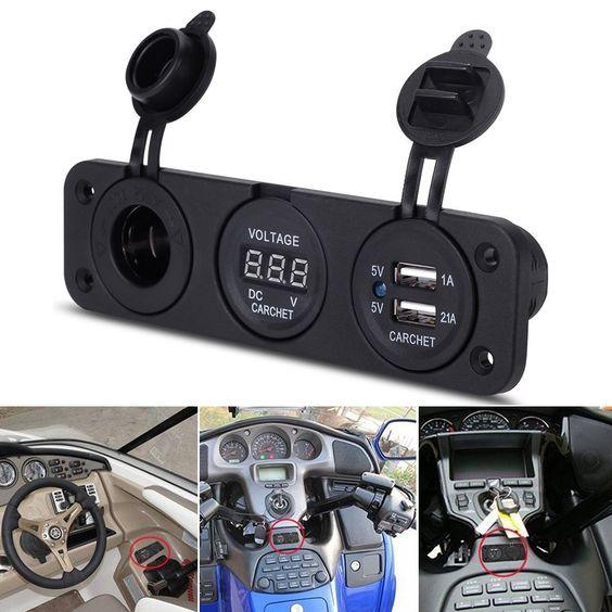 CARCHET® Auto KFZ LKW Zigarettenanzünder Adapter Ladegerät mit Dual USB Voltmeter Spannungsanzeige 12V: Amazon.de: Auto