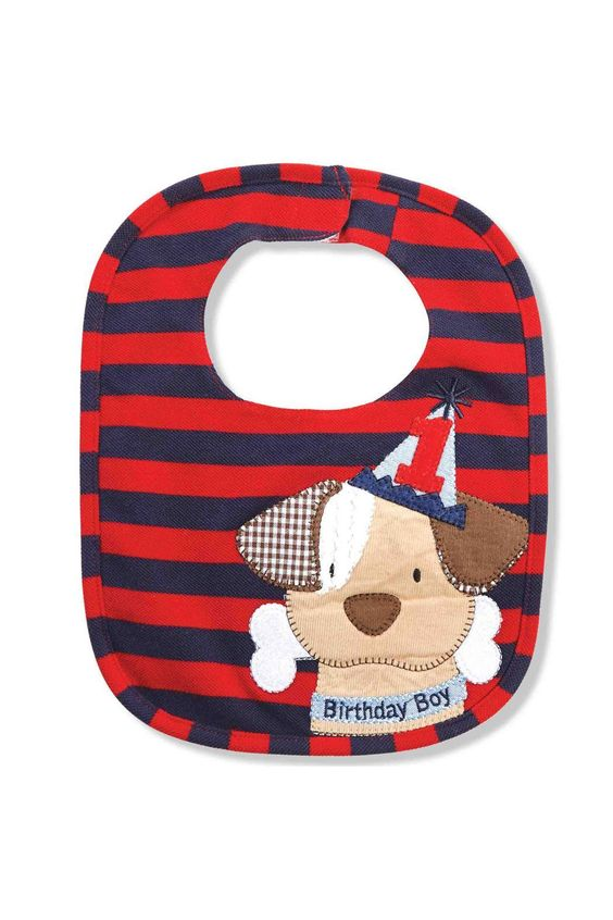 """This handsome and adorable bib is the perfect accessory for those invaluable moments of celebration for your baby boy's first or second birthday. The irresistible design includes navy and red stripes and a puppy in party hat appliqué with the words """"Birthday Boy"""". There is a velcro closure and a minky textured backing.    Measures: 12"""" x 10""""   Birthday Puppy Bib by Mud Pie. Home & Gifts - Gifts - Gifts by Occasion - Baby & Kids Boulder, Colorado"""