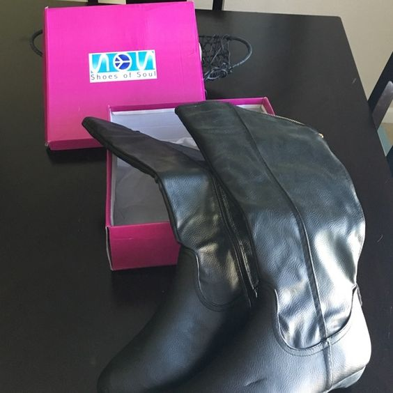 Black zip calf length boots New in box black boots, never worn. Ordered online and the fit isn't right for me. Pretty gold zipper detail Shoes Winter & Rain Boots