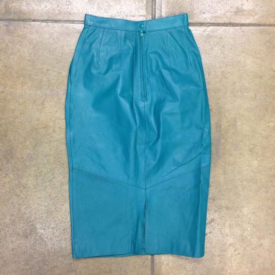 Vintage Women's Pelle Cuir Turquoise Leather Skirt Size 4 ...