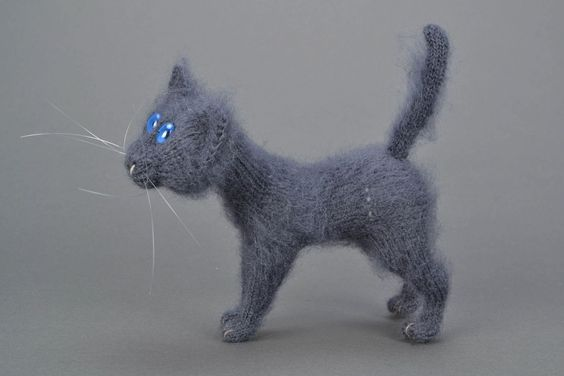 Homemade Soft Crochet Toy Gray Cat | eBay
