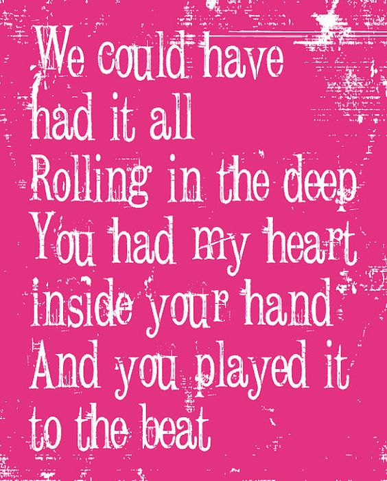 Music lyrics art, Teaching and Adele rolling on Pinterest Rolling In The Deep Lyrics