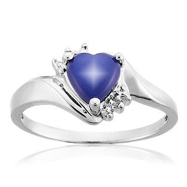 Created Blue Star Sapphire and Diamond Ring - Size 7 $299