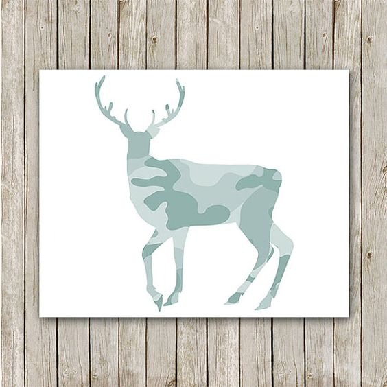 Deer Print, Instant Download, Deer Art Print, Antler Print, Buck Print, Camo Print, Cabin Decor Art, Antler Art Print, Mint Nursery Print