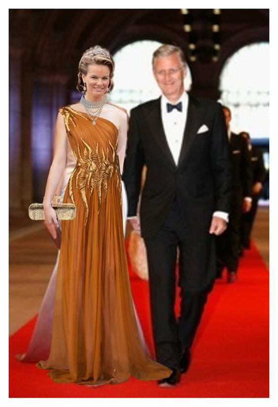 """Crown Prince Philippe and Princess Mathilde of Belgium at engagement"" by leofirequeen ❤ liked on Polyvore featuring Alexander McQueen, royal, princess, spanish and engagement"