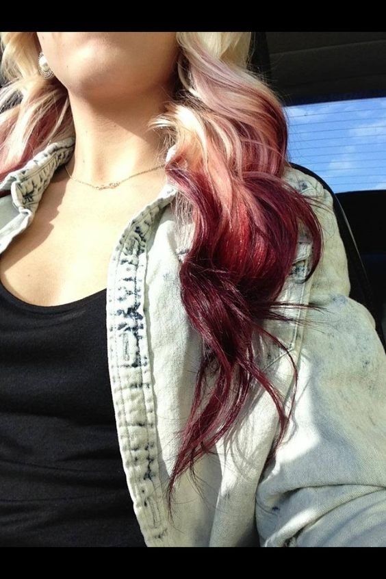 Blonde to maroon ombre @alexishines01 when I get this done u should too, it would be awwweeeesssooomme