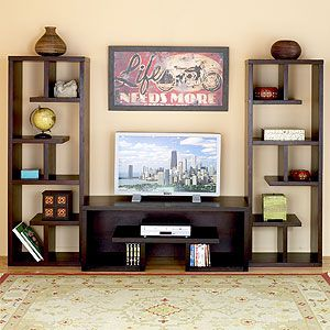 Book shelfs decorated bookshelves flanking a tv stand for Bookcase and tv stand
