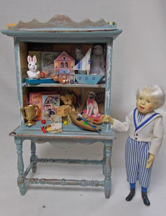 Dollhouse Miniature Nursery Antique Style Childs distressed Toy Cupboard in Blue