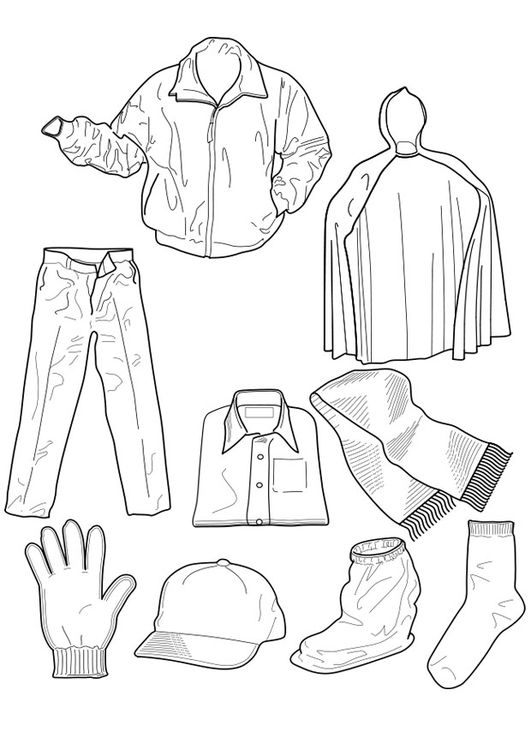 worksheet clothes for color - Clip Art Library | 750x531