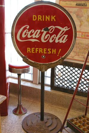 Vintage Coca Cola Lollipop Sign: