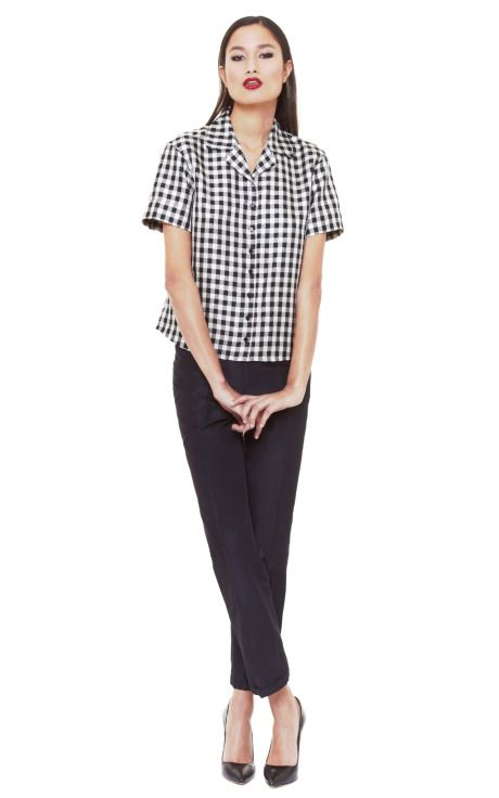 Shop Short Sleeve Gingham Check Shirt by Rochas Now Available on Moda Operandi