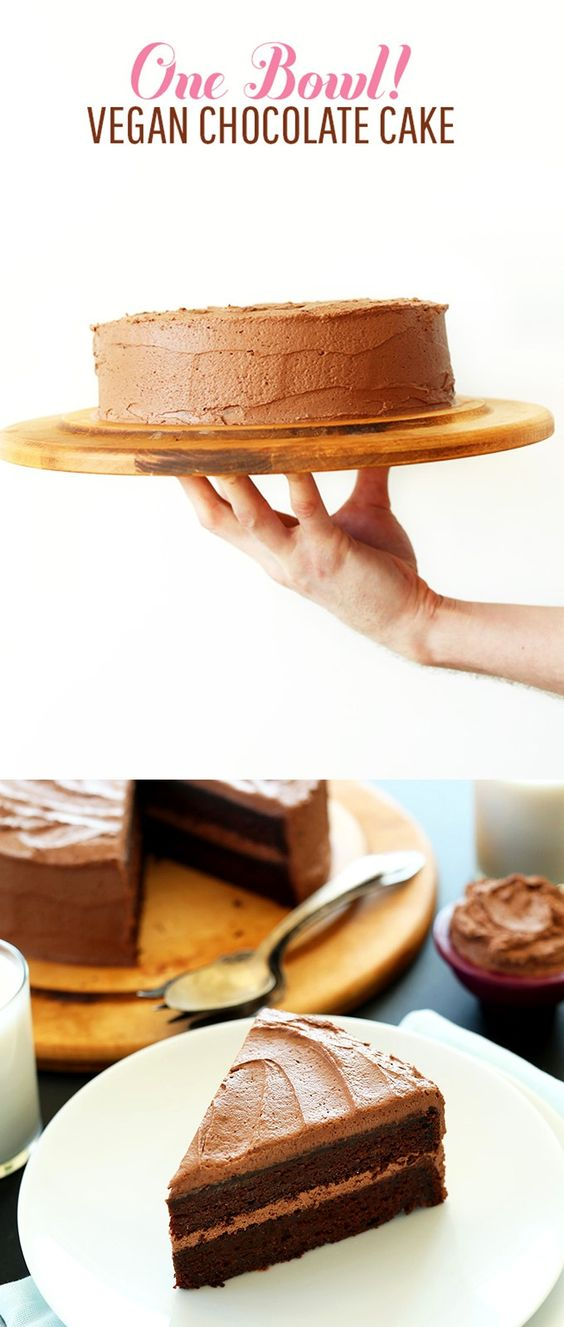 ONE BOWL 2 Layer Vegan Chocolate Cake! Moist, rich and delicious  + so easy! #vegan