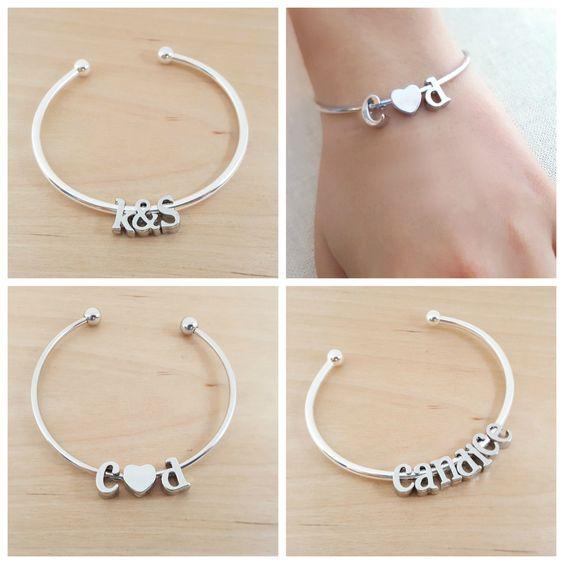 Silver Initial Bangle Bracelet - Alphabet Charm Bracelet - Name Bracelet - Adjustable Silver Bracelet - Custom Name Bracelet - Gift For her by CYDesignStudio on Etsy