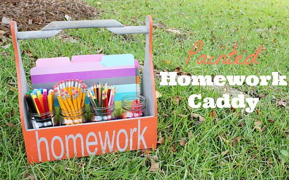Painted Homework Caddy