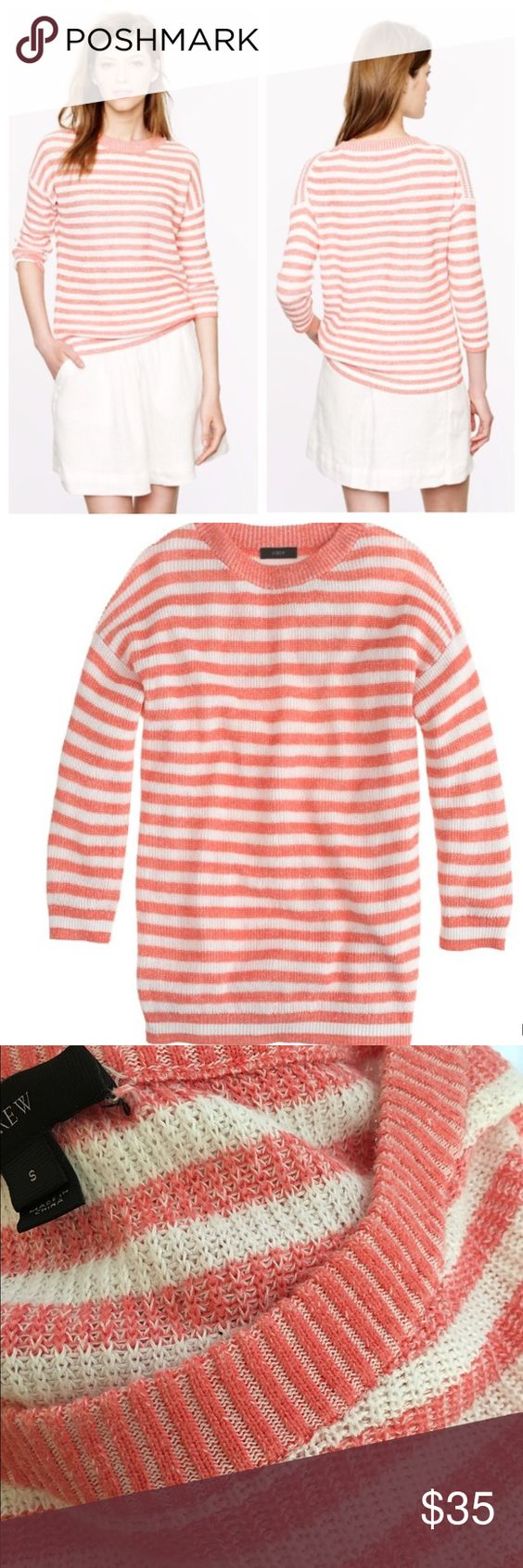 J. Crew heather-stripe sweater Meet the perfectly slouchy, slightly textured linen & cotton sweater we're wearing on chilly summer nights straight through to crisp fall days. Our designers gave a classic stripe a fresh feel with a subtle heathered effect, then tweaked the easy fit with formfitting 3/4 sleeves (so it has a flattering-for-all relaxed drape, but still feels tailored) Relaxed fit. Linen/cotton Hits at hip Rib trim at neck, cuffs & hem Dry clean Salmon/off white color. Minor…