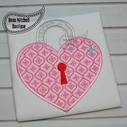 Heart Lock Applique - 4 Sizes! | Hearts | Machine Embroidery Designs | SWAKembroidery.com