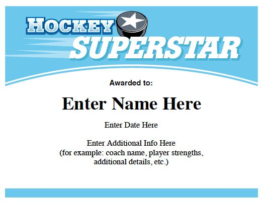 Hockey certificates templates Hockey quotes, slogans and more - hockey roster template
