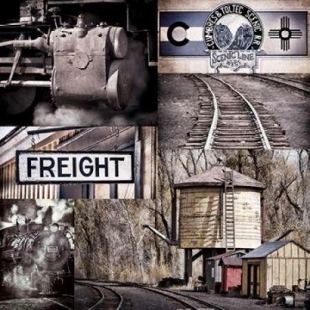 Historic Train Collage I Canvas Art - Kathy Mahan (24 x 24)