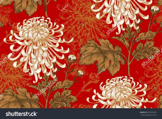 Vector Seamless Floral Pattern Japanese National Flower Chrysanthemum Illustration Luxury Design Flower Illustration Japanese Background Chrysanthemum Image
