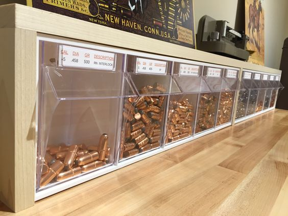 www.pinterest.com/1895gunner/ Reloading Bench - Bullet Storage - Candy Store   1895Gunner's Reloading Bench