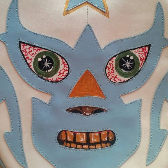 Check out this item in my Etsy shop https://www.etsy.com/listing/249182453/baby-blue-white-remixed-luchador-bag