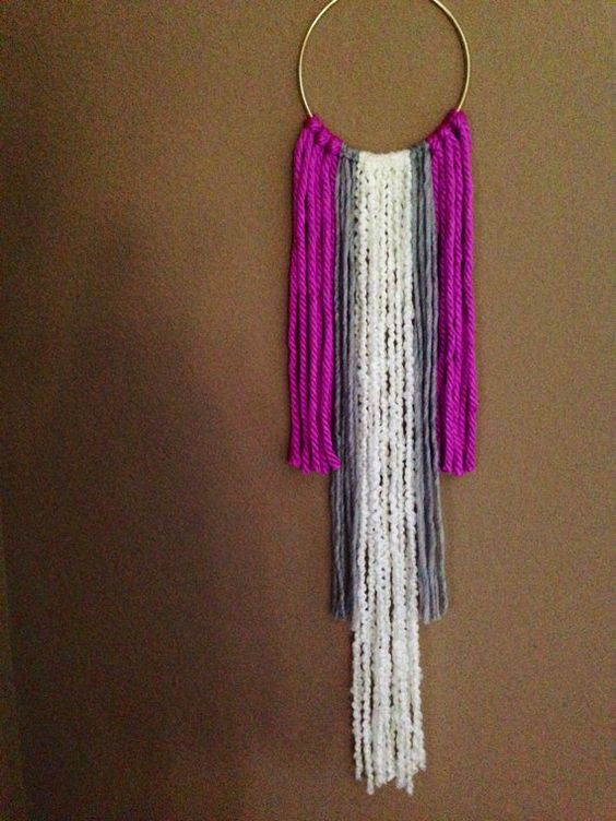 Purple, grey and cream fringe wall hanging $35