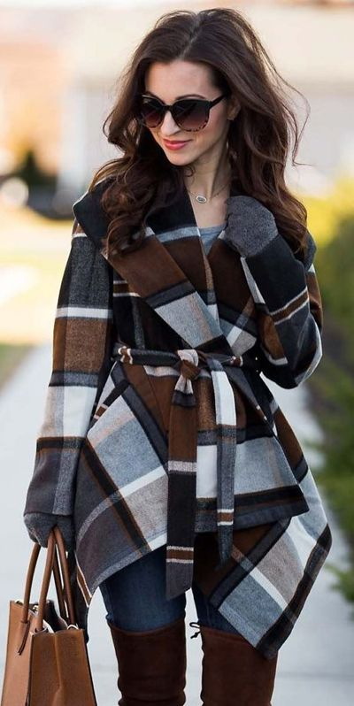 Trendy wrap shape, featuring classic tartan pattern and sash, this coat represents your most cheering holiday spirit. Prairie Check Rabato Coat by Chic+ featured by Lipgloss and Labels Blog, instagram: lipglossandlabels